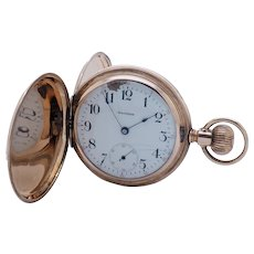 1901 Antique WALTHAM 610 Model 1899 7j 16s 14K Yellow Gold Full Hunter Pocket Watch