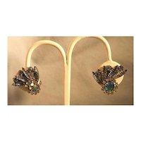 Blue Rhinestone Clip Earrings with Fruit Salad Stones