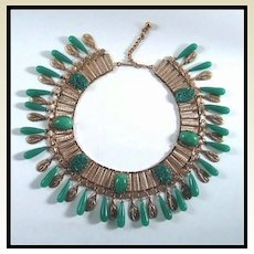 Incredible Peking Glass and Gold-tone Bib Necklace Demi Parure