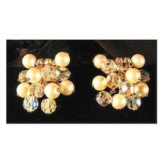 Kramer Rhinestone, Crystal and Faux Pearl Earrings