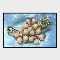 Pretty Pastel Pink Flower Pin Brooch with Rhinestones