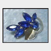 Petite Rhinestone Pin with Deep Blue Stones