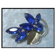 Petite Rhinestone Pin with Deep Blue Stones
