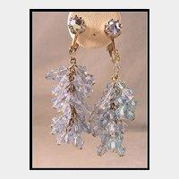 Gorgeous Blue Cluster Crystal Dangle Earrings