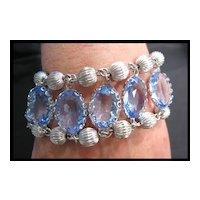 Amazing Coro Pegasus Blue Crystal and Silver-tone Bead Bracelet