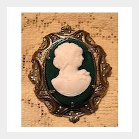 Charming Green and White Glass Cameo with Brass Setting Pin Brooch