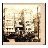Amateur Stereo View of Apartment Building in Chicago with Vintage Cars