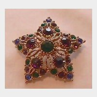 Star Shaped Multicolor Rhinestone Pin Brooch