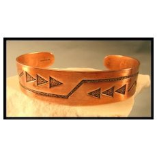 Copper Bracelet with American Indian Motif
