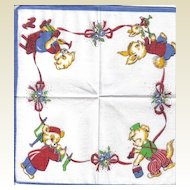 Child's Handkerchief - Animals Depicting Various Professions