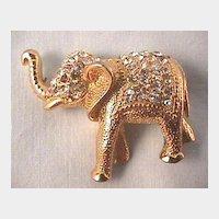Handsome Elephant Pin with Rhinestones