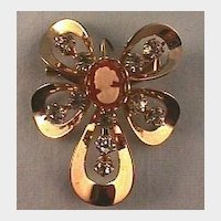 Sweet Pin with Rhinestones and Tiny Plastic Cameo