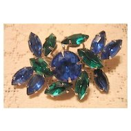 Lovely Blue and Green Rhinestone Pin