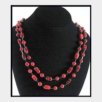 Striking Glass Bead Flapper Style Necklace/ Vintage Necklace / Jewelry