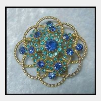 Exceptionally Pretty Rhinestone Pin with Blue Stones