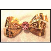 Coro Bow Pin Brooch with Large Pink Stone