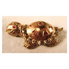 Charming Turtle Pin Gold-tone Red