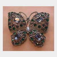 Large Butterfly Pin Brooch - Blues Stones