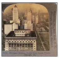 Michigan Avenue in Chicago Stereo View by Keystone