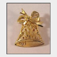 Pretty Gold-tone Christmas Bell Pin