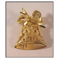 Pretty Gold-tone Christmas Bell Pin