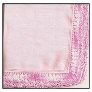 Pink Linen Handkerchief with Wide Crochet Border