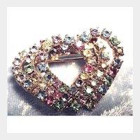 Multi-Colored Rhinestone Intertwining Hearts Brooch