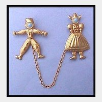 Charming Dutch Boy and Girl Chatelaine Pin