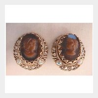 Cameo Clip Earrings: West Germany: Dark Amber