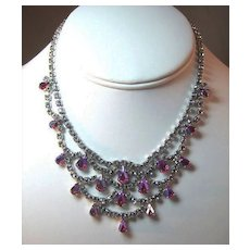 Gloriously Glitzy B. David Rhinestone Necklace