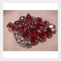 Stunning Ruby Red and Clear Rhinestone Pin