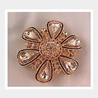 Very Elegant Gold-tone, Black and Rhinestone Pin