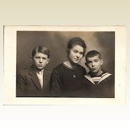 Real Photo Postcard of Young French Woman and Her Brothers