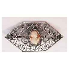 Lovely Filigree 800 Silver Brooch with Cameo