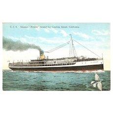 Steamer Avalon Bound for Catalina Island Postcard