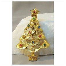 Christmas Tree Pin Colorful Rhinestones Gold-tone