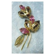 Pink and Red Rhinestone Pin with Filigree Setting