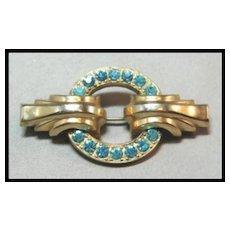 Bar Pin with Turquoise Rhinestones