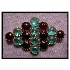 Stunning Diamond Shaped Pin with Stunning Cabochon Stones