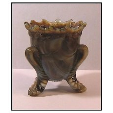 Degenhart Forget-Me-Not Gray Slag Toothpick Holder