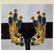 Juliana Cobalt and Gold Colored Rhinestone Earrings
