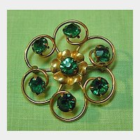 Gold Filled Pin with Emerald Green Rhinestones