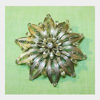 Snowflake Sterling Wire-work Pin with Clear Rhinestones