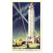 1933 Chicago World's Fair Havoline Thermometer Postcard