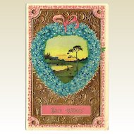 Best Wishes Embossed Postcard with German Flowers and Gel Coating