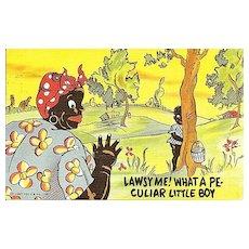 Black Americana Humorous Postcard Little Boy Behind a Tree