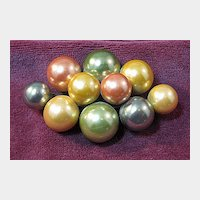 Vintage Simulated Pearl Green, Yellow and Coral Pin Brooch