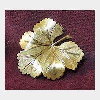 Petite Leaf Pin Brooch 14K GF Signed VD