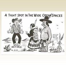 Bob Petley Postcard of Cowboy and Indians