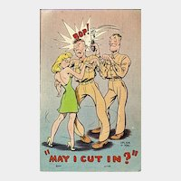 Humorous Military Postcard  - Soldier Being Not So Subtle